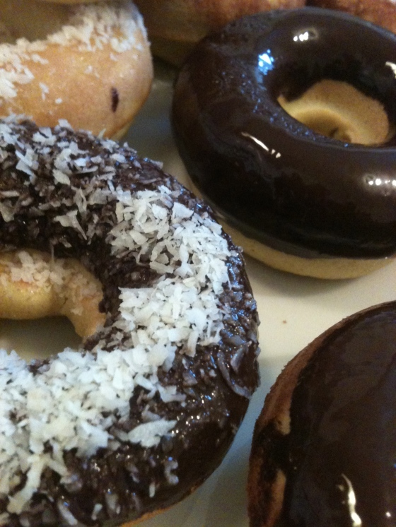 NutriSue - dark chocolate glazed, dark chocolate with coconut and honey and lime coconut donuts
