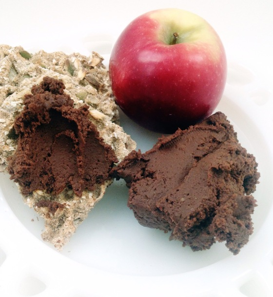 chocolate hummus is delicious with your favourite cracker, celery, carrot stcks, apples and pears